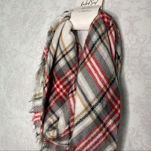 Rooted Soul Accessories - NWT Rooted Soul clothing co. Plaid frayed scarf OS